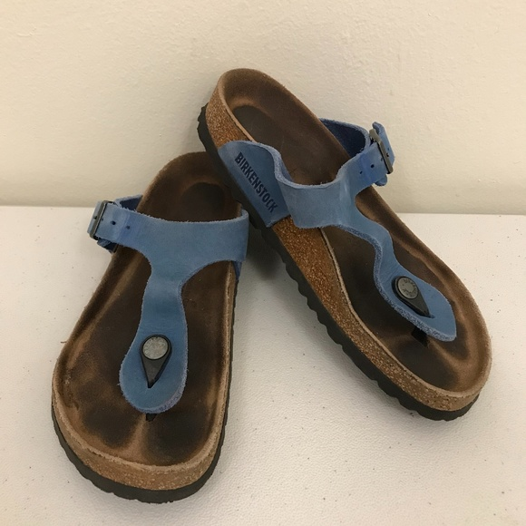 Gizeh Blue Leather Leather Sandals 36